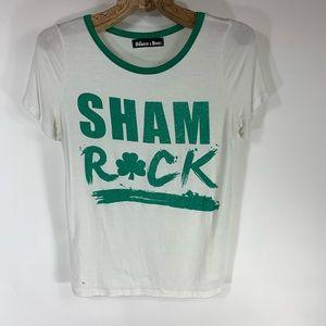 Shamrock T Shirt White Green Soft T Shirt Small